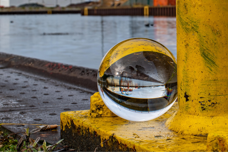 Crystal ball at a pier